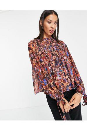VERO MODA Sheer high neck blouse in print-Multi