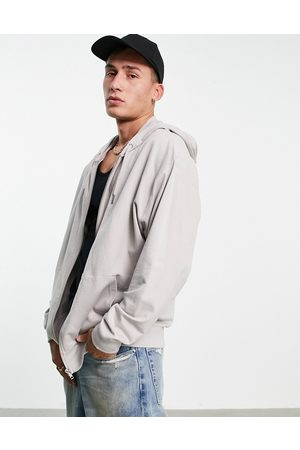 ASOS Oversized lightweight zip-up hoodie in grey