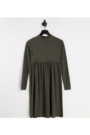 Mama Licious Mamalicious Maternity organic cotton long sleeve dress with funnel neck in brown