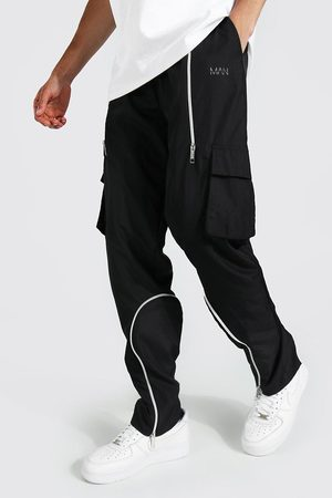 Boohooman Mens Tall Straight Leg Cargo Trouser With Zips
