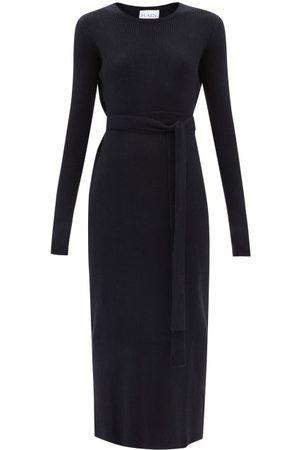 Raey Recycled-cashmere Blend Belted Crew-neck Dress - Womens - Navy