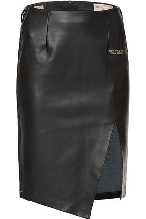 Evisu PU Panel Denim Pencil Skirt