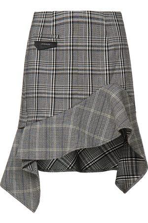 Evisu Women Skirts - Asymmetric Ruffle Mixed Plaid Skirt