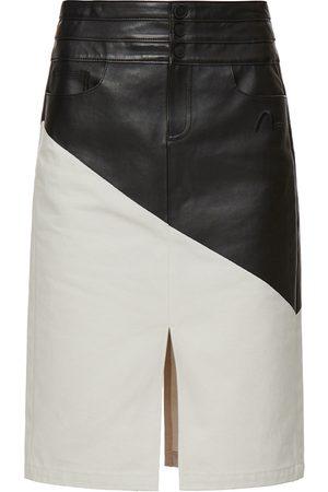 Evisu Women Leather Skirts - Contrast Leather Denim Skirt