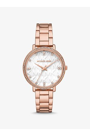Michael Kors Watches - MK Pyper Pavé Rose -Tone Logo Watch - Rose