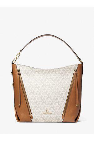MICHAEL Michael Kors Women Shoulder Bags - MK Brooklyn Large Logo Shoulder Bag - Vanilla/acorn - Michael Kors