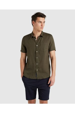 French Connection Linen Regular Fit Shirt - Casual shirts (MOSS) Linen Regular Fit Shirt