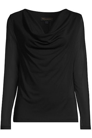 Donna Karan New York Draped Mesh-Sleeve Top
