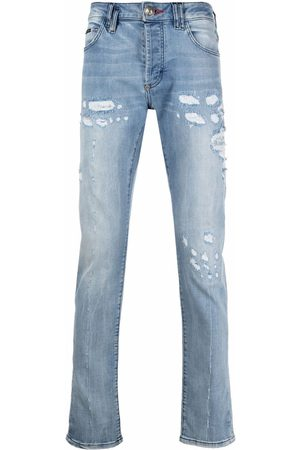 Philipp Plein Men Straight - Distressed straight-cut jeans