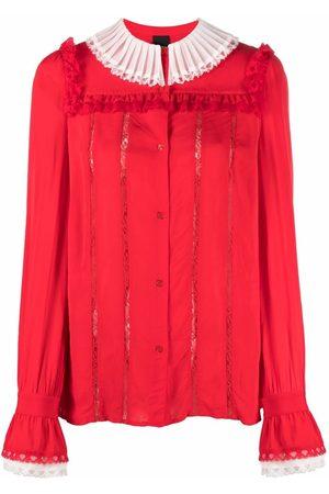 Pinko Women Blouses - Ruffled two-tone blouse