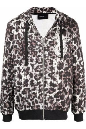 John Richmond Men Hoodies - Leopard-print zip-up hoodie