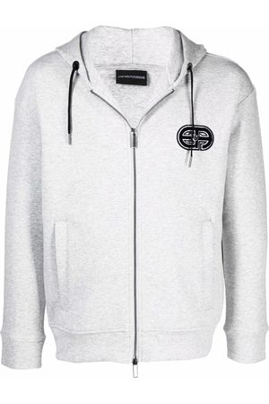 Emporio Armani Embroidered-logo zip-up hoodie