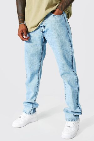 Boohoo Mens Ice Straight Leg Tapestry Patch Pocket Jeans