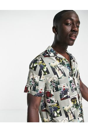 ASOS DESIGN Relaxed revere shirt in satin floral placement print