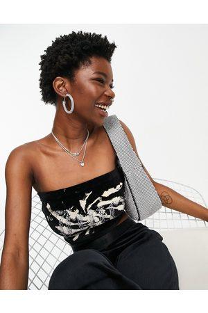 Juicy Couture Women Crop Tops - Co-ord velour boob tube in tie dye