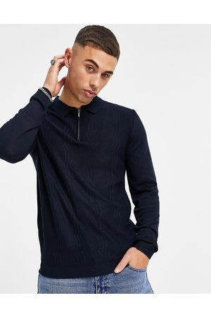 Topman Zig-zag knitted polo shirt in