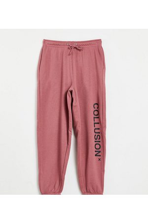 Collusion Unisex organic cotton logo trackies in dusty