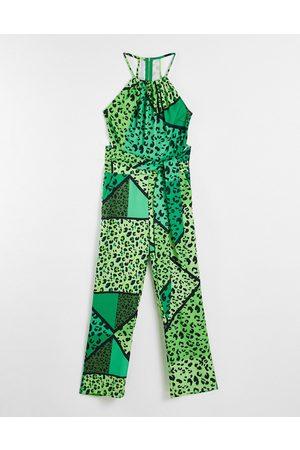 Liquorish Tie waist jumpsuit -Multi