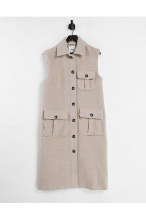 Object Wool mix sleeveless vest shacket in beige-Neutral