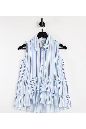 River Island Petite Frill hem striped sleeveless shirt in