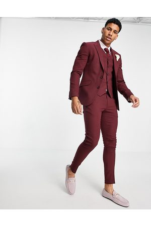ASOS DESIGN Men Formal Pants - Wedding super skinny suit pants in micro texture-Red