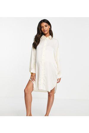 Glamorous Bloom Oversized satin shirt dress in cream-White