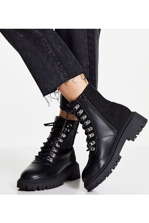 London Rebel Wide Fit chunky hiker boots in