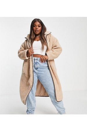 ASOS Curve ASOS DESIGN Curve fleece coat with contrast stitching in -White