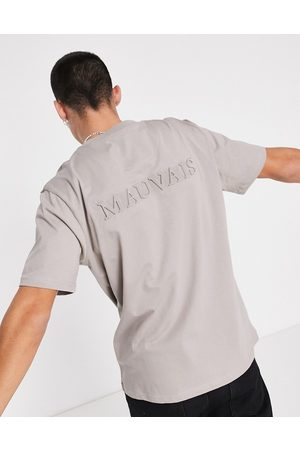 Mauvais Embossed logo back print T-shirt in taupe