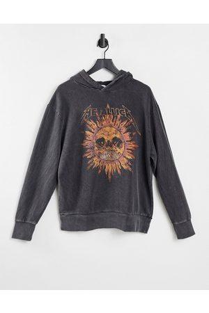 Topman Metallica skull print hoodie in