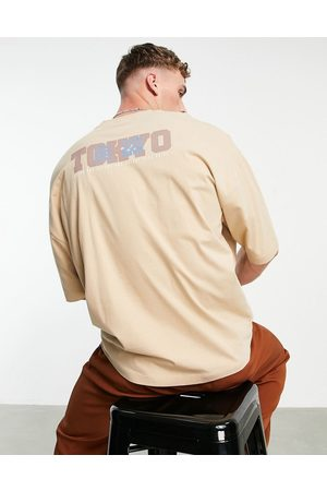ASOS DESIGN Oversized t-shirt in with Tokyo city back print-Neutral
