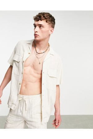 ASOS DESIGN Co-ord relaxed fit shirt in natural fabric-Neutral