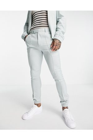 ASOS DESIGN Co-ord skinny smart trackies with cuff in pastel crosshatch