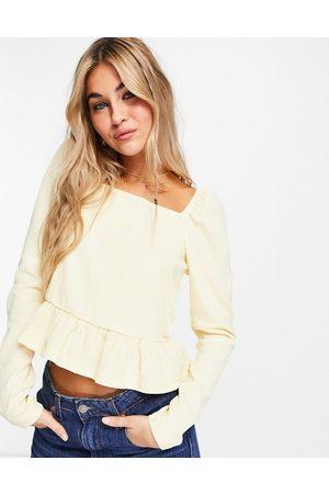 Vila Long sleeve smock top in yellow-White