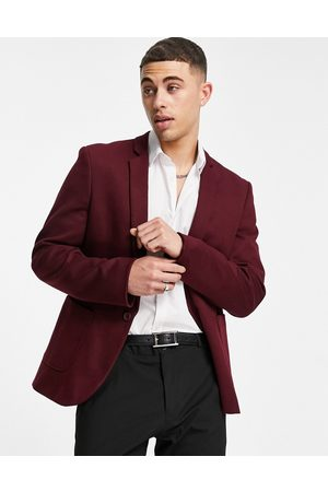 ASOS DESIGN Super skinny jersey blazer in dark -Red