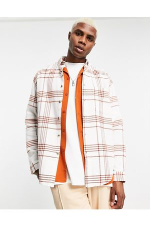 ASOS DESIGN Men Casual - 90s oversized check shirt in brushed flannel-Brown
