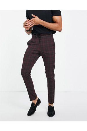 ASOS DESIGN Co-ord smart skinny tartan drawcord waist pants in -Red