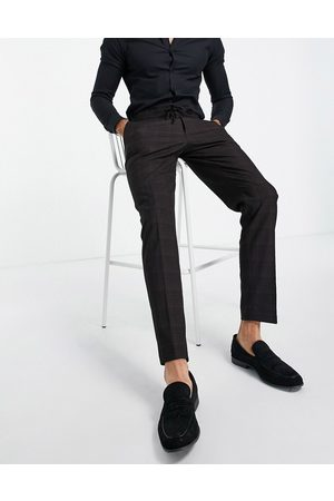 ASOS DESIGN Slim suit pants in cross hatch check in with drawcord waist