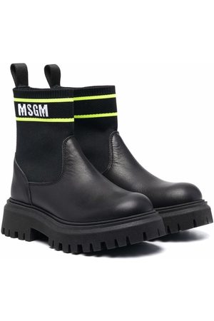 Msgm Leather ankle-sock boots