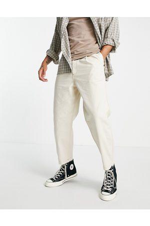 Topman Pleat front taper jeans in -White