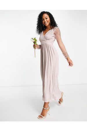 Little Mistress Bridesmaid embellished pleated midaxi dress in mink