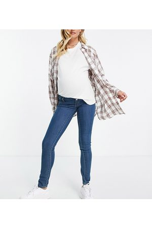 Mama Licious Mamalicious Maternity skinny jeans in blue