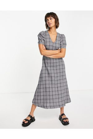 Whistles Smock midi dress with puff sleeves in mono check-Multi