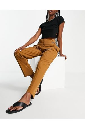 Selected Femme recycled tailored pants with high waist and button detail in