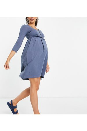 Mama.licious Mamalicious Maternity organic cotton long-sleeved T-shirt button-front dress with over the bump tie in blue