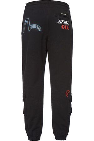 Evisu Men Cargo Pants - Eclipse Seagull Print Cargo Sweatpants