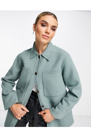 Whistles Oversized shacket with exposed pockets in teal-Green