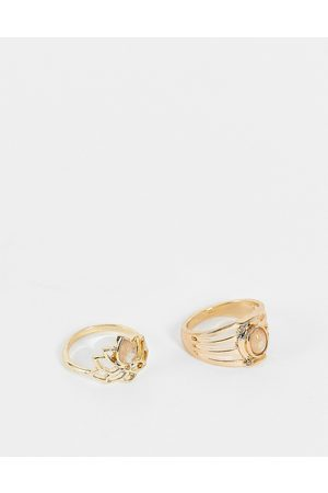 Accessorize Lotus ring set with grey stones in gold
