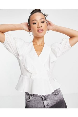 Object Textured wrap top with ruffle detail in