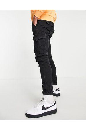 JACK & JONES Intelligence Paul super stretch cargo jeans in washed black